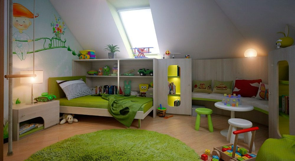 Decoraci n infantil del dormitorio en la buhardilla for Ideas para buhardillas